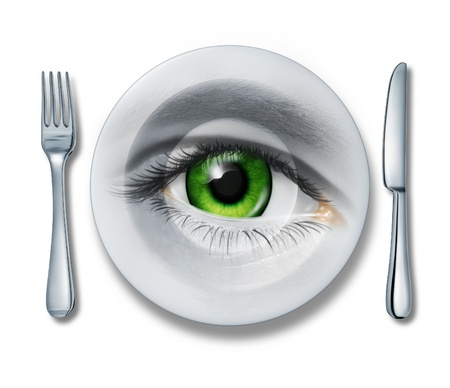 food safety: Food Health inspection and quality control for restaurants and kitchen meal preparation services as a plate fork and knife and a human eye looking out for the best choice in the contents of what we eat on white  Stock Photo