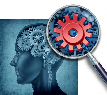 brain function: Human brain medical concept with gears and cogs represented by reasearch of neurons symbols and a close up with a magnifying glass of neuron cell activity showing the study of intelligence related to cognitive function and memory