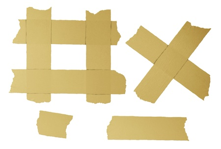 duct tape: Masking tape torn strips of isolated elements of strong adhesive beige paper material asa office supplies used in packaging boxes or repairing or fixing broken things that need to be sealed air tight