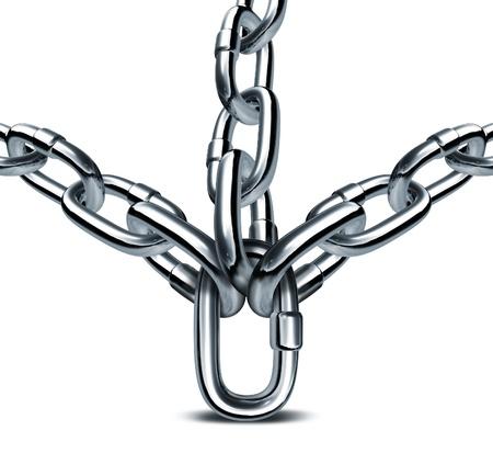 safe investments: Gestione forte e leadership aziendale solido con un anello di catena sostiene tre catene di metallo come un concetto di integrit� forza come una squadra nel mondo della finanza e consulente per gli investimenti sicuri