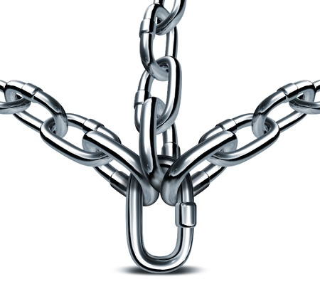 Strong management and solid business leadership with a chain link supporting three metal chains as a concept of strength integrity as a team in the world of finance and safe investment advisor  photo