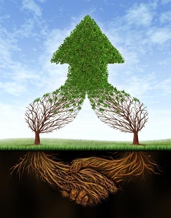 arbol raices: Business crecimiento acuerdo y colaboración en equipo con las raíces de dos árboles en la forma de un movimiento de la mano humana y las ramas vacías sucesivas a la forma de una flecha verde hacia arriba saludable en un cielo de verano Foto de archivo