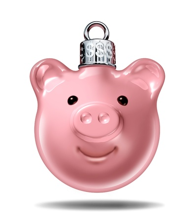 finance problems: Christmas budget and holiday savings specials symbol with a piggy bank in the shape of a decorative  pine tree ball with silver top with dollar signs embossed as an icon of spending for gifts and prices in the gift giving season  Stock Photo
