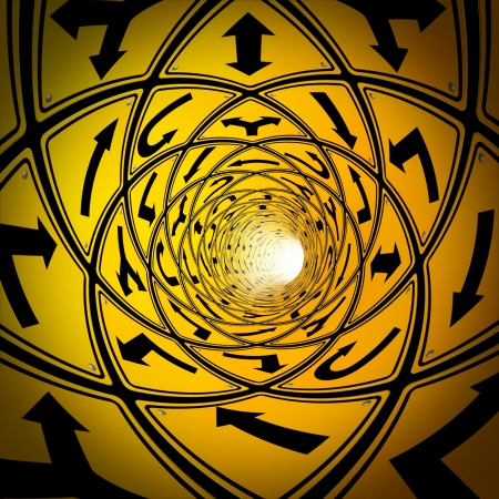 crossroads sign: Confused journey and lost in confusion with a tunnel made of multiple yellow road signs as a business and life concept of the challenges in finding a true direction to acheive a goal and fullfill a strategy and plan,