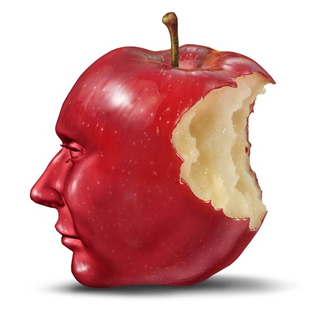 Depression and loneliness with human head in the shape of an apple with a bite eaten out of the red fruit as a health care symbol of despair and loss of brain function and losing memories