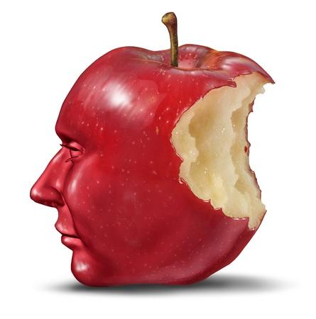 cerebro humano: La depresi�n y la soledad con cabeza humana en la forma de una manzana con una mordida comido de la fruta roja como s�mbolo de salud de la desesperaci�n y la p�rdida de la funci�n cerebral y la memoria que pierden Foto de archivo
