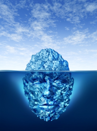 hidden danger: Exploration and discovery concept with an iceberg floating on a blue ocean and the underwater portion of the frozen ice is in the shape of a human head as a business and life symbol in searching for opportunities and dangers