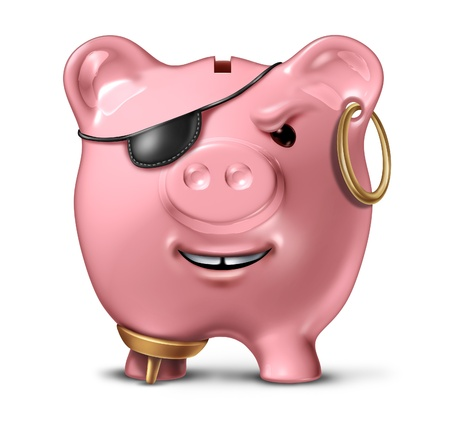 money laundering: Financial criminal and bank fraud concept with a pink ceramic piggy bank disguised as a pirate as a legal and illegal symbol of finance and savings crime on a white background