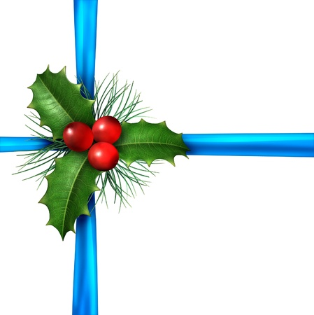 deserve: Blue Christmas silk wrapping ribbon with natural Holly leaves with red berries and pine needles as a gift decoration and winter holiday decorative design ornament for the celebration of the new year isolated on a white background