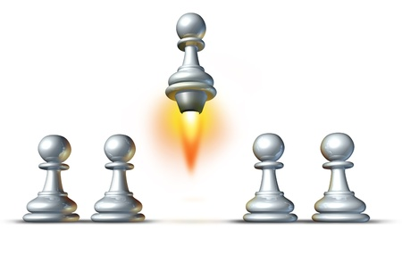 chosen one: Individuality and success with a group of white pawns and a special member of the team rising up from the crowd with a rocket engine blasting upward with flames on a white background