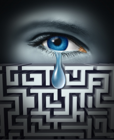 pain management: Pain management and dealing with human physical or psychological suffering with an eye crying a single tear through a maze or labrynth as a concept for finding solutions to emotional stress related to work or life