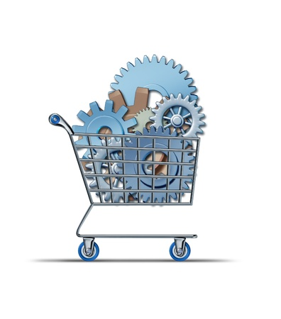 Stock market buying financial symbol with a shopping cart purchasing company stock represented by gears and cogs as a concept of investing success and finance growth