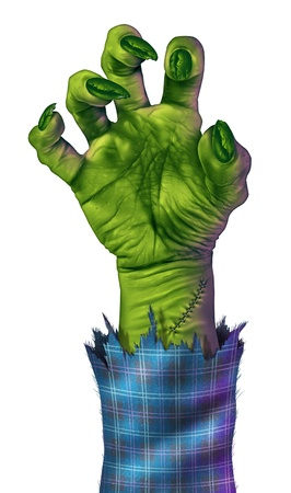 monster movie: Zombie hand reaching to grab something or someone as a human like green monster hand with sharp nails and stitches with a blue plad jacket on a white background representing halloween and fear  Stock Photo