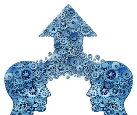 Collaborazione aziendale e business concetto crescita lavoro di squadra con due forme testa umano si fondono insieme per formare una freccia rivolta verso l'alto fatto di ingranaggi e ruote dentate come un simbolo di successo finanziario su uno sfondo bianco