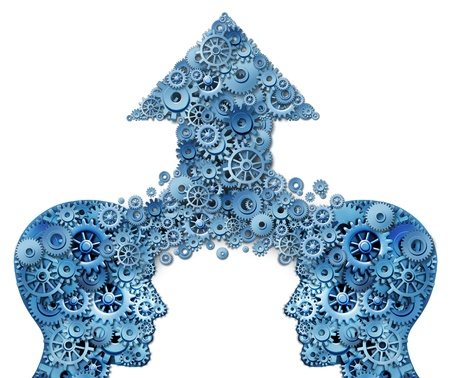 team vision: Corporate partnership and business teamwork growth concept with two human head shapes merging together to form an upward pointing arrow made of gears and cogs as a financial success symbol on a white background