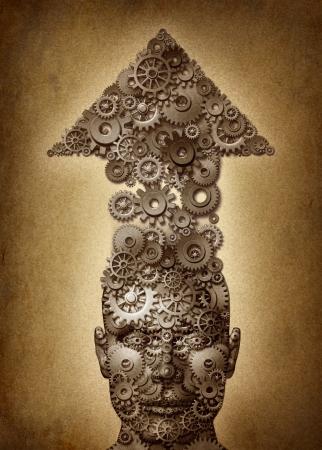 bullish: Destinato per l'istruzione e il successo concetto di business per realizzare una fine umano lavora con una strategia e un piano di imparare e condurre come una testa con una freccia salendo fatta di ingranaggi e ruote dentate su una texture grunge vecchia pergamena