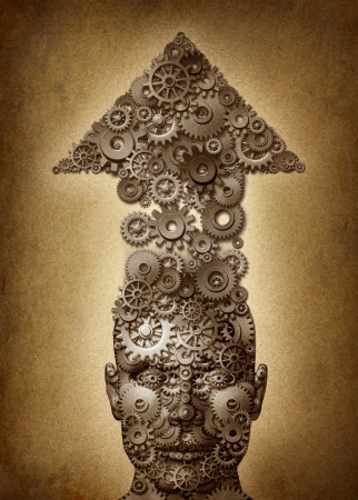 Destined for success education and business concept for acheiving a human goal working with a strategy and plan to learn and lead as a head with an arrow going up made of gears and cogs on an old grunge parchment texture  Stock Photo - 15584419