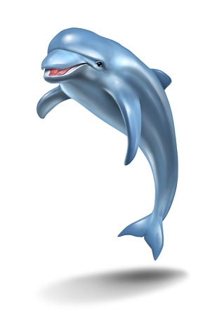 forced: Dolphin jumping in the air on a white background as a playful nature symbol of ocean life with a smiling happy aquatic mammal on a three qarter forced perspective view