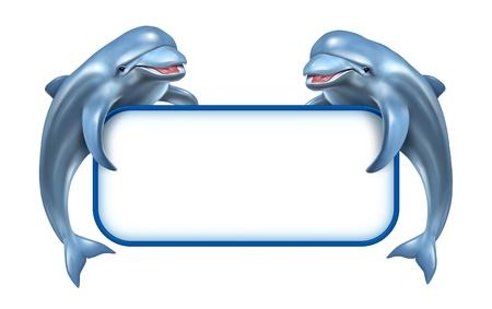 Dos Delfines feliz saltando juguetones sosteniendo un cartel en blanco en blanco como un anuncio relacionado marinos y acuáticos pertenecientes a vivir la naturaleza en el agua y el océano y la vida en el mar azul deap