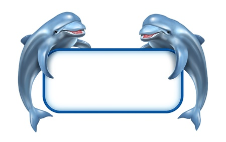 advertise: Two happy playful jumping Dolphins holding a white blank sign as a marine and aquatic related announcement pertaining to nature living in water and ocean and life in the deap blue sea