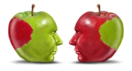 merging together: Equal partners and business relationship concept with a green and red apple in the shape of a human head with a bite tranplanted from one partner to the other as a symbol of cooperation and exchange of ideas  Stock Photo