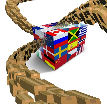 Global delivery with a package box printed with flags from the world and streaming groups of cardboard boxes flowing to the center as a transportation and shipping freight symbol of international business on white  photo