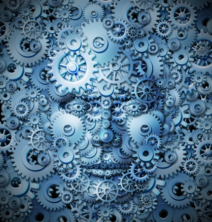merging together: Human intelligence and creativity with a front view of a head and face made of gears and cogs merging with a similar background as a business and mental health care concept for working thinking function  Stock Photo