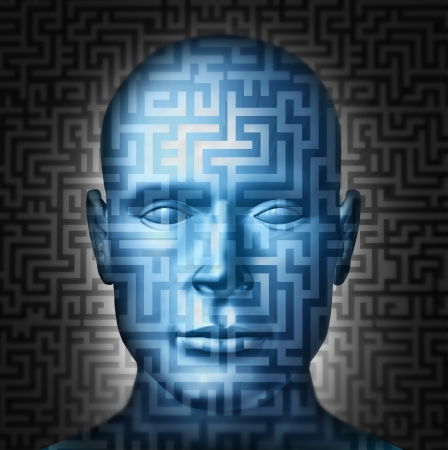 brain function: Human solution searching for a clear direction and answers to complex decisions and confusing financial or health problems as a front view head with a maze or labyrinth puzzle as a challenge to intelligent choices