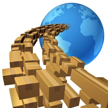 cajas de carton: El transporte mar�timo internacional y la entrega global de servicios de carga concepto de negocio con un grupo de transmisi�n de paquetes como cajas de cart�n que fluye en una esfera azul del mapa de la tierra aislado en un fondo blanco