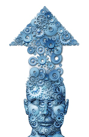 ideas and education and corporate growth with a front facing human business man head with an arrow  up made of connected gears and cogs as a concept of financial and life success on a white background Stock fotó - 15584414