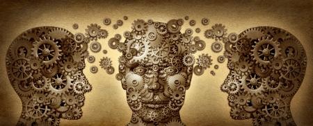 onderwijs: Onderwijzen en leren onderwijs concept met drie menselijke hoofden in een voor-en zijaanzicht gemaakt van tandwielen en radertjes samen in partnerschap voor loopbaanontwikkeling en zakelijk succes werken aan een grunge oud perkament textuur