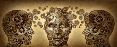 advancement: Teaching and learning education concept with three human heads in a front and side view made of gears and cogs working together in partnership for career advancement and business success on a grunge old parchment texture  Stock Photo