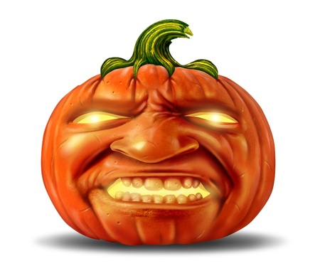 Scary pumpkin jack o lantern with an angry devil like realistic human expression on the orange halloween holiday symbol with magical glowing candle light on a white background  Stock Photo