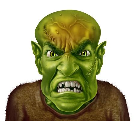 Concept de gestion de la colère avec un visage de monstre vert folle type scientifique de caractère criant avec une expression humaine exprimant colère stress émotionnel au travail ou à la vie personnelle
