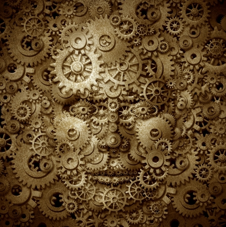 gear head: Business visionary and educator symbol with a front view human head made of gears and cogs on a grunge parchement texture as a financial concept of inventiveness and having an open mind for free thoughts