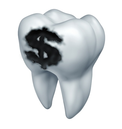 pertaining: Dental insurance plan and medical costs pertaining to teeth  as a dentistry concept with a white tooth and a black cavity in a shape of a dollar sign as a tooth decay  health care expenses on a white background