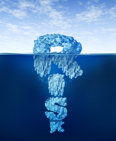 Risk iceberg  concept as hidden dangers with a deceptive hazardous ice in cold arctic water with a small part of the frozen  mountain above the sea and the hidden bottom in the shape of text hiding facts