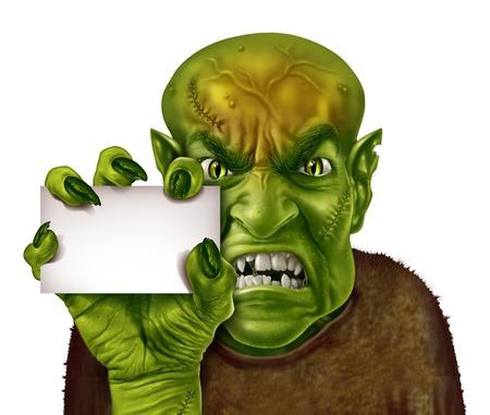 creepy monster: Mostro in possesso di un segno bianco in bianco con uno zombie o un uomo avido con una mano in possesso di un raccapricciante scheda annuncio come un simbolo inquietante o spaventoso Halloween con texture pelle verde rugosa dita raccapricciante e punti isolati su bianco