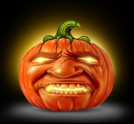 Halloween pumpkin jack o lantern as a scary character with an angry devil like realistic human expression on the orange halloween holiday symbol with magical glowing candle light on a black background