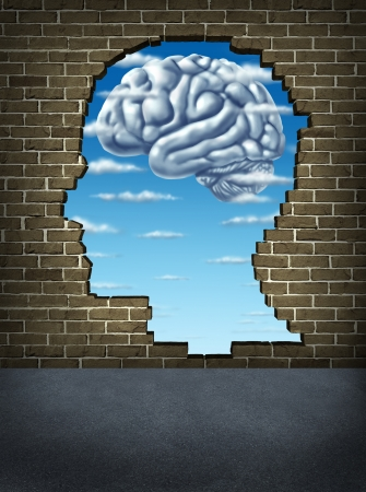 thinking out of the box: Understanding human intelligence with a broken brick wall in the shape of a head revealing a sky and clouds in the shape of a brain as a health care symbol of mental well being and neurology research