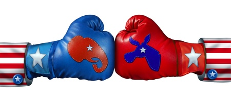 campaigns: American election campaign fight as Republican Versus Democrat represented by two boxing gloves with the elephant and donkey symbol stitched fighting for the vote of the United states citizens for an election win