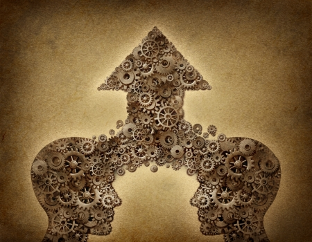merging together: Business cooperation success teamwork growth concept with two human head shapes merging together to form an upward arrow made of gears and cogs as a financial symbol on a grunge old parchment paper