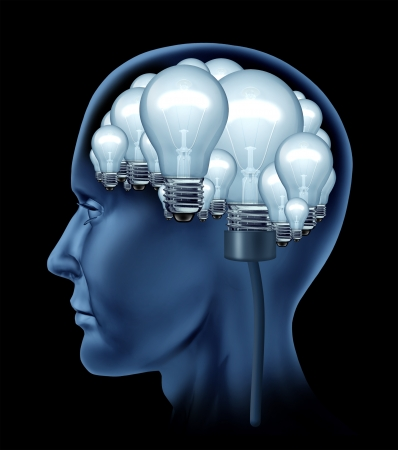 brain and thinking: Creative human brain with a side profile of a person with the brain made of a group of bright illuminated light bulbs as a concept of the creative mind finding solutions and creativity in life and business  Stock Photo