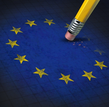 European union problems with the Europe flag having yellow stars being erased by a pencil eraser shwing the financial crisis the economy is causing to membership as Greece Italy Spain Germany France Britain