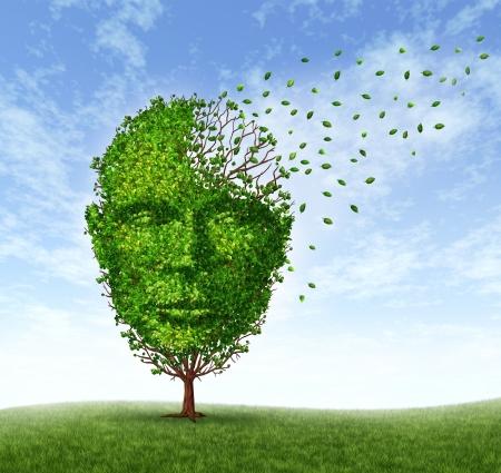 enfermedades mentales: Los problemas humanos demencia como la pérdida de memoria debido a la edad y el Alzheimer Foto de archivo