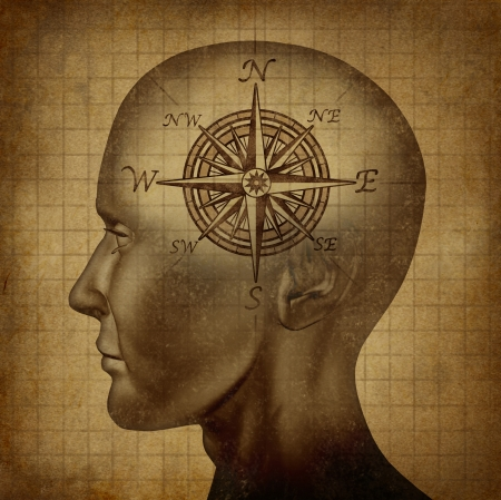 Moral compass and career path concept with a human head and a compass as a brain on a grunge old parchment texture as a concept of knowing what direction to follow in life and for business success