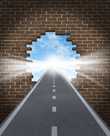 beliefs: Break through to opportunity concept with a highway going through a broken brick wall to a shinning light of success on a sky background as a business icon and a symbol for a new life vision,