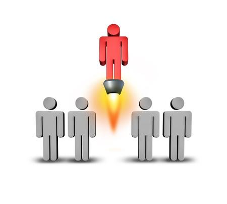 Arrancador del uno mismo como individualidad y el concepto de éxito con un grupo de personas iconos grises con un miembro del equipo especial se levanta entre la multitud con un chorro de motor de cohete hacia arriba con las llamas en un fondo blanco