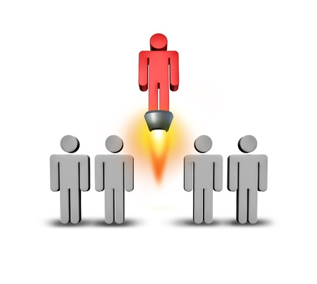 blast off: Self starter as a individuality and success concept with a group of grey people icons with a special member of the team rising up from the crowd with a rocket engine blasting upward with flames on a white background  Stock Photo
