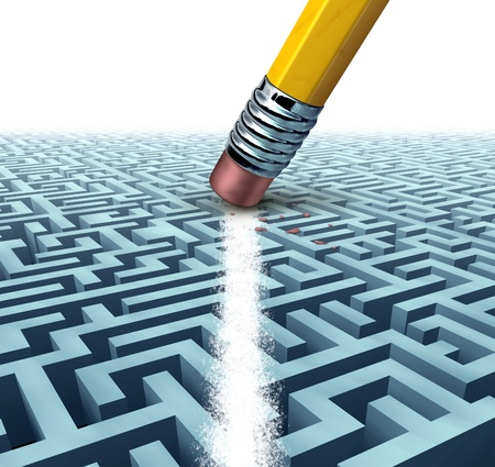Solving a problem  and finding the best creative solution against a complicated and complex three dimesional maze having a clear shortcut path created by erasing the labyrinth pattern with a pencil eraser  Stock Photo